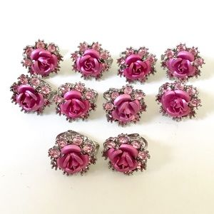 5 Pairs Avon Pink Rose Earrings